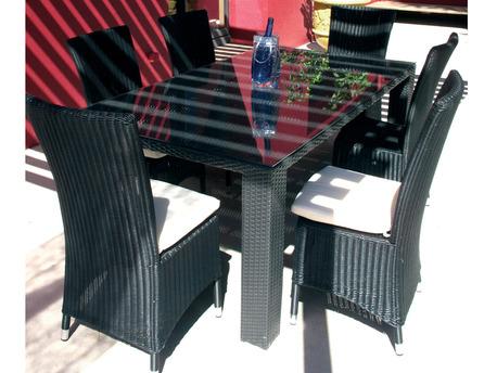 """Table de jardin """"Lounge"""" - 6 couverts - Noir"""