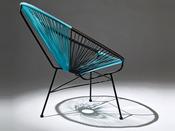 "Lot de 2 fauteuils de jardin ""Ovaly"" - Noir/bleu"