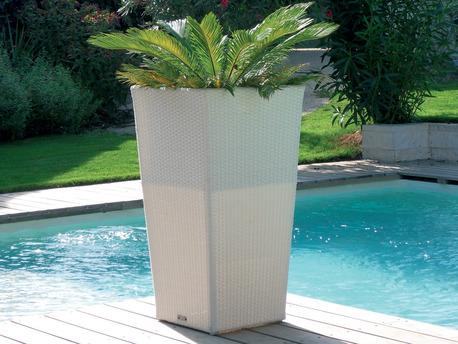 Cache-pot en résine tressée - 50 x 50 x 90 cm - Blanc