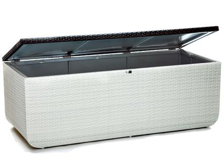 "Coffre de rangement ""Prahia"" - 170 x 70 x 60 cm - Blanc / Chocolat"