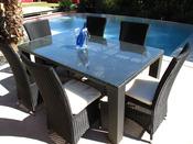 """Table de jardin """"Lounge"""" 6 couverts - Résine tressée"""