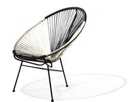 "Lot de 2 fauteuils de jardin ""Ovaly"" - Blanc / Noir"