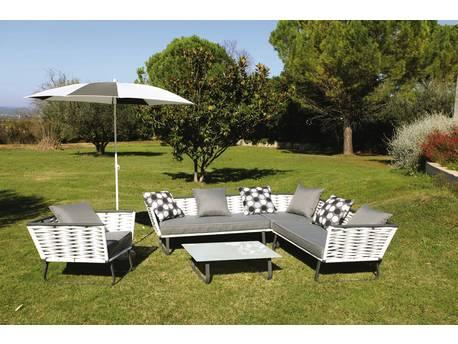 """Salon de jardin """"Horizon"""" - 2 banquettes + 1 table basse - Blanc"""