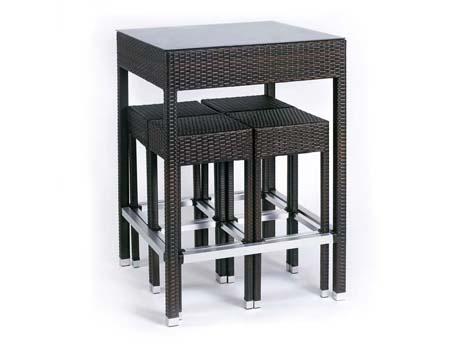 "Ensemble de jardin ""Alto"" - Table haute + 4 tabourets - Cigare"