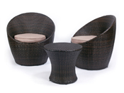"""Salon de jardin """"Belize"""" - Table + 2 fauteuils - Cigare"""