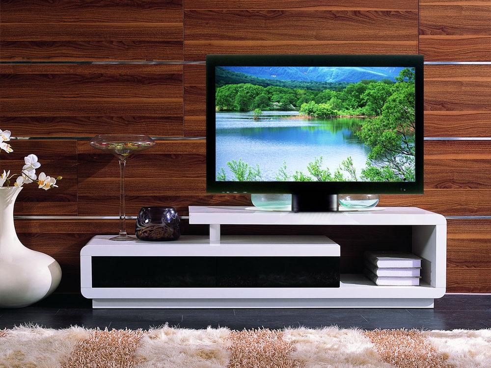 meuble tv rectangulaire tamatia en mdf laqu blanc et noir 56812. Black Bedroom Furniture Sets. Home Design Ideas