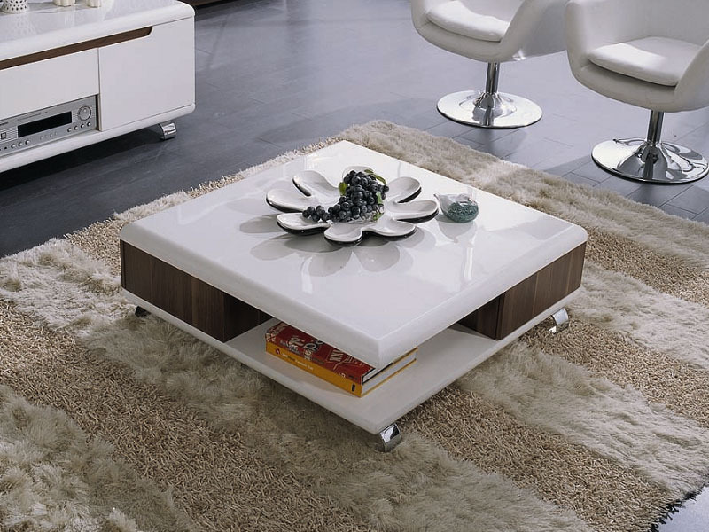 table basse carr e lotus mdf laqu blanc melamine walnut 53668. Black Bedroom Furniture Sets. Home Design Ideas