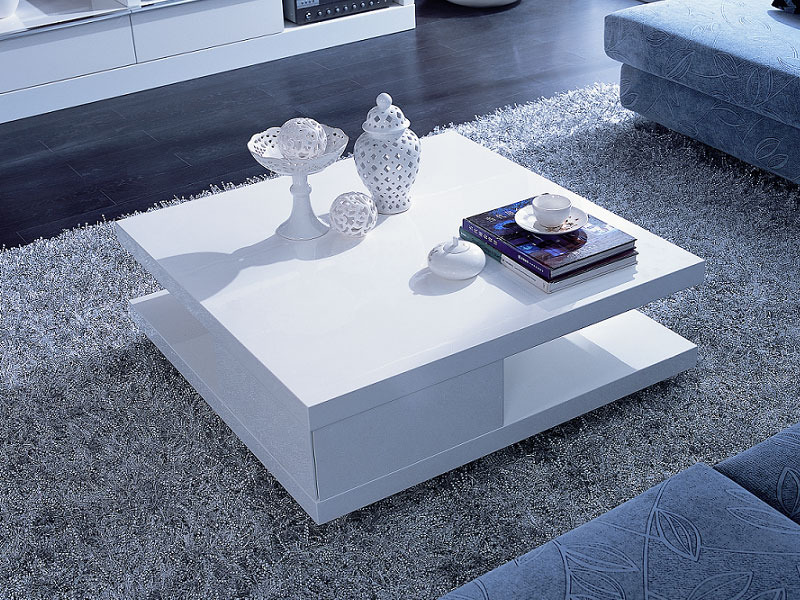 Table Basse Carree Orchis Mdf Laque Blanc 56890