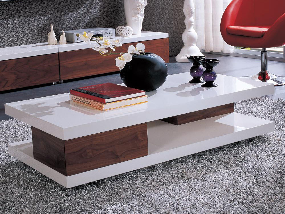 table basse rectangulaire primula mdf laqu blanc melamine walnut 53669. Black Bedroom Furniture Sets. Home Design Ideas