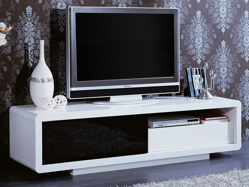 Meuble Tv Rectangulaire Rosa Mdf Laque Blanc Et Noir 56892