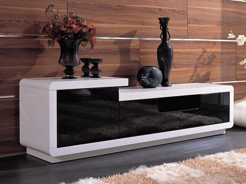 meuble tv rectangulaire veronica mdf laqu blanc et noir 56893. Black Bedroom Furniture Sets. Home Design Ideas