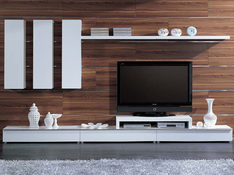 Meuble tv l ments mural vicia mdf laqu blanc 53674 for Element mural tv